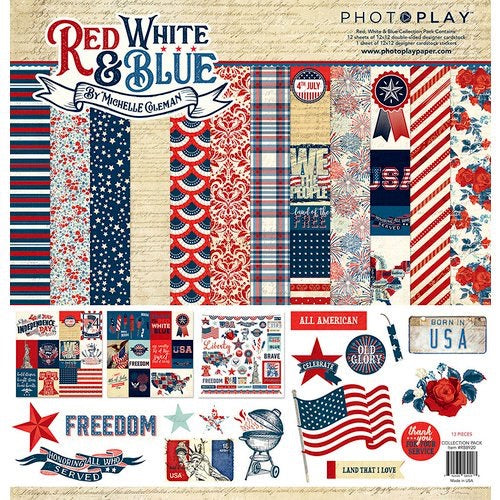 Photoplay 12x12 red white & blue collection kit