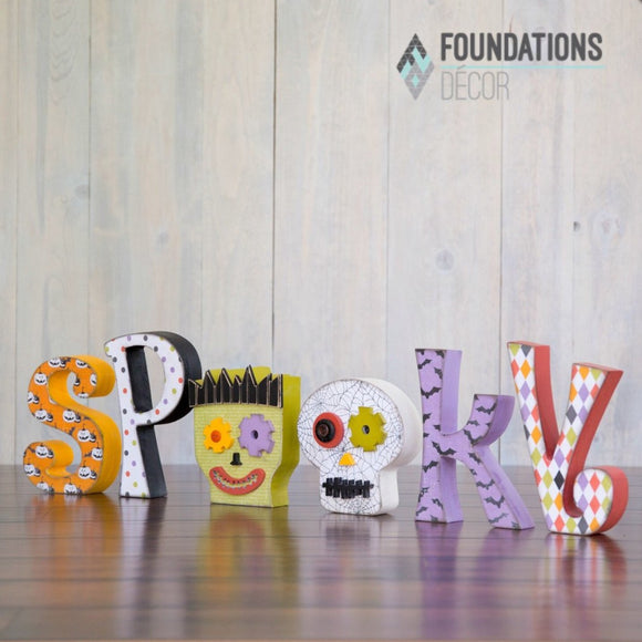Spooky wood letters