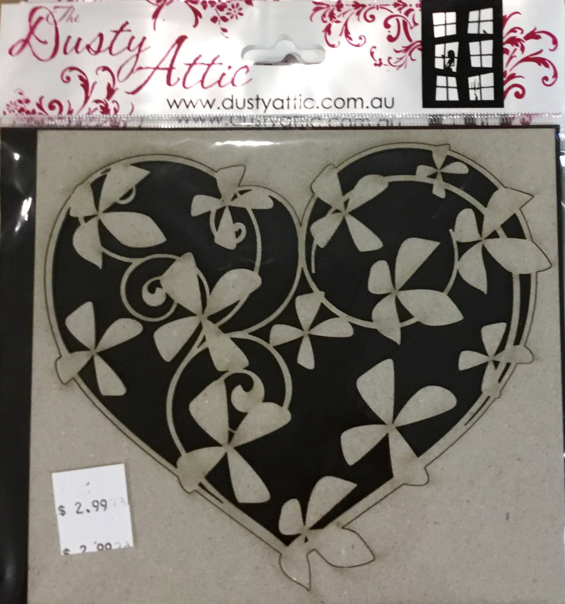 Dusty Attic Chipboard- floral heart