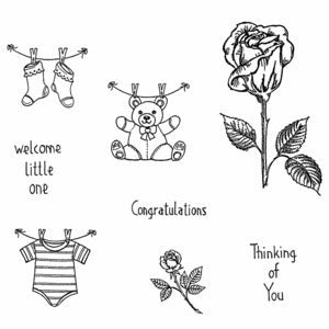 Northwoods Rubber Stamps- Rose Stem & Baby cling set