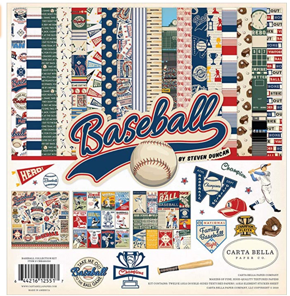 Carta Bella paper co. 12x12 Baseball collection kit
