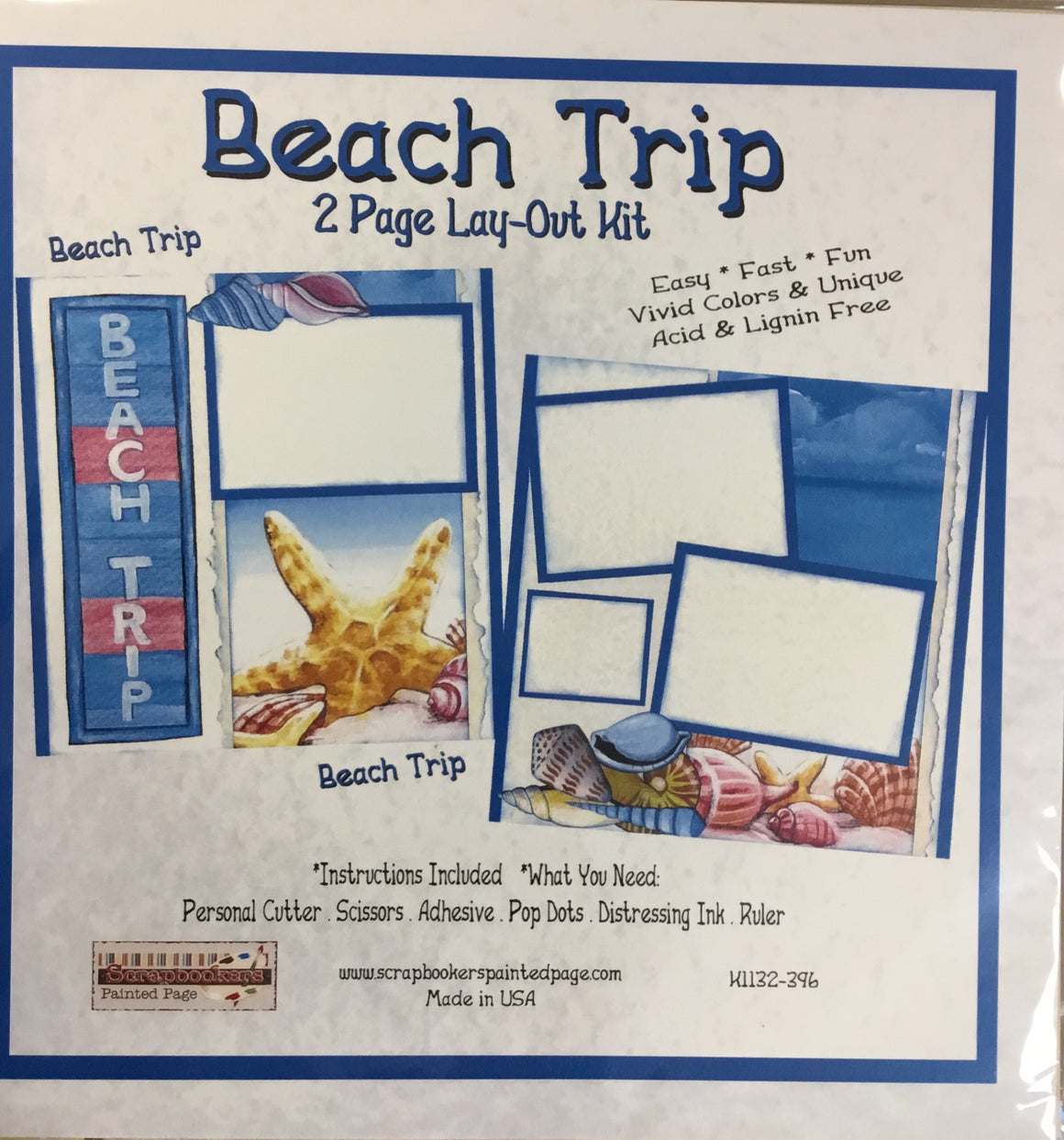 12x12 2 page layout kit Beach Trip