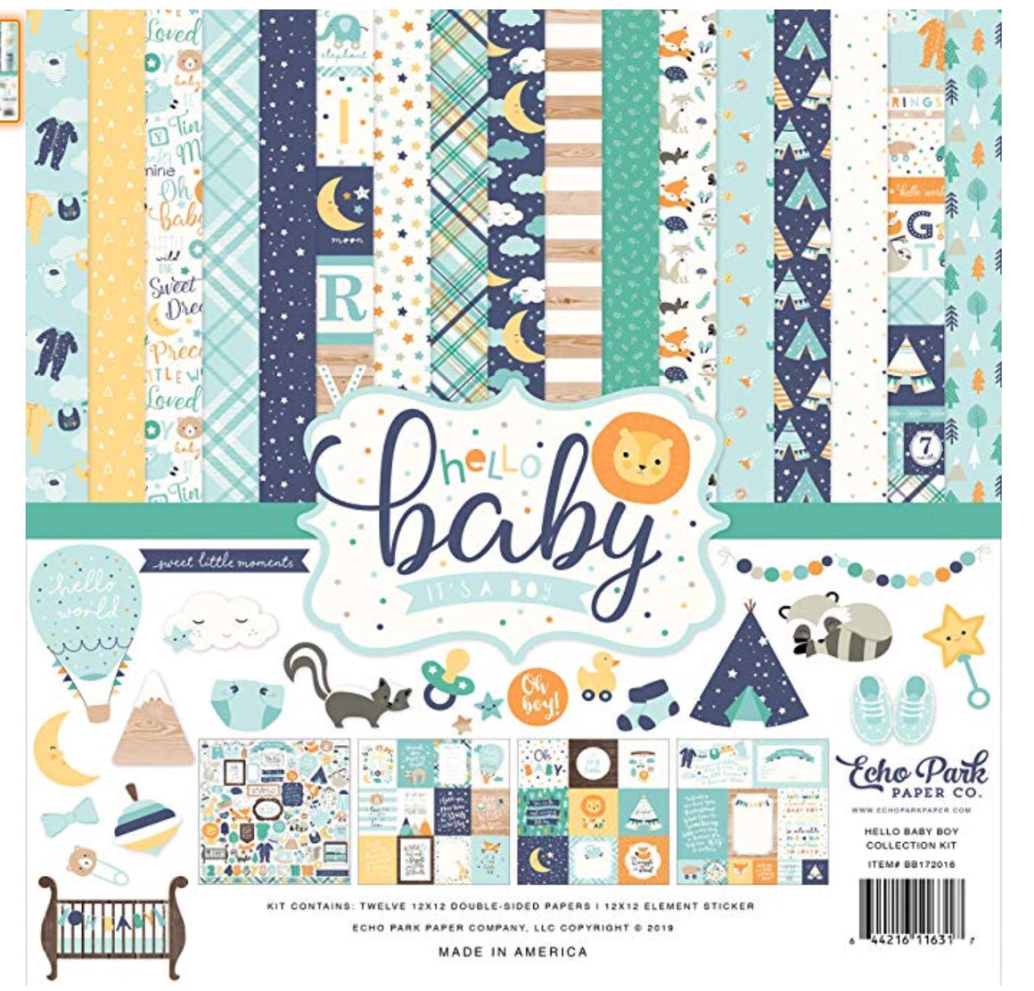 Echo park paper company 12x12 Hello baby boy collection kit