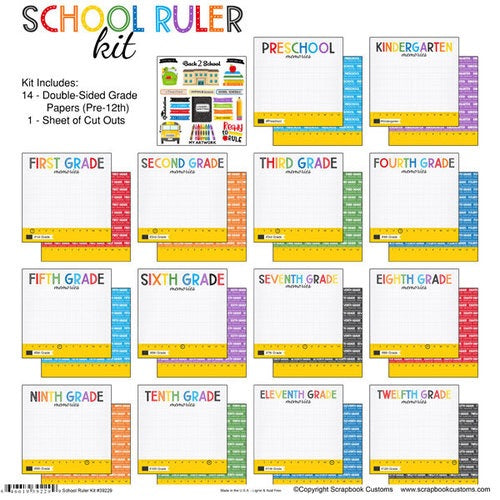 Scrapbook customs 12x12 School Ruler collection kit
