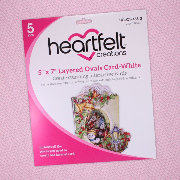 Heartfelt Creations Layered Cards Ovals Card-White