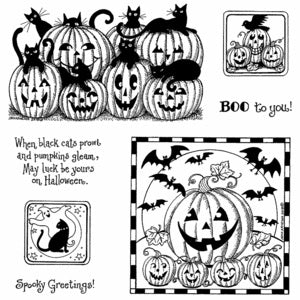 Northwoods Rubber Stamps- Black Cats and Jacks Cling Set