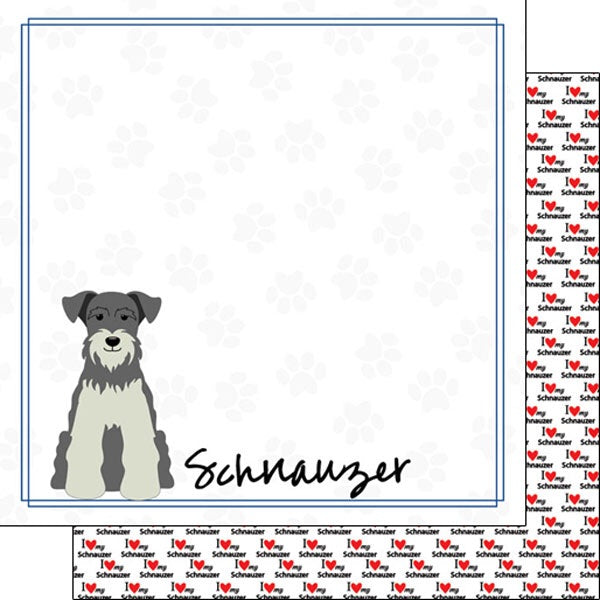 12x12 Schnauzer border paper single sheet