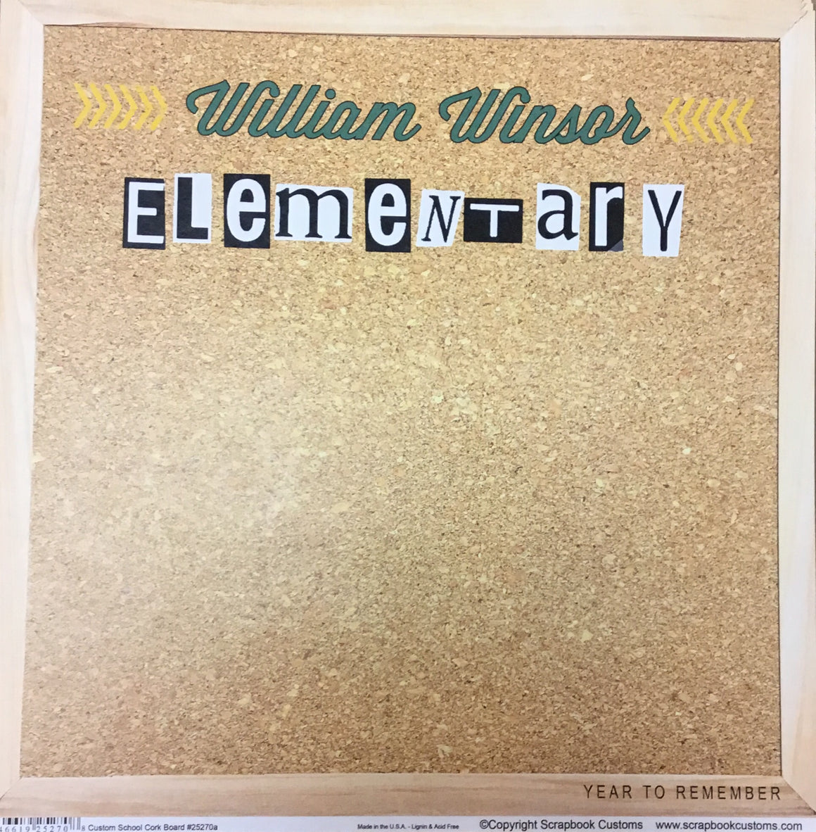 William Winsor Elementary School cork board paper
