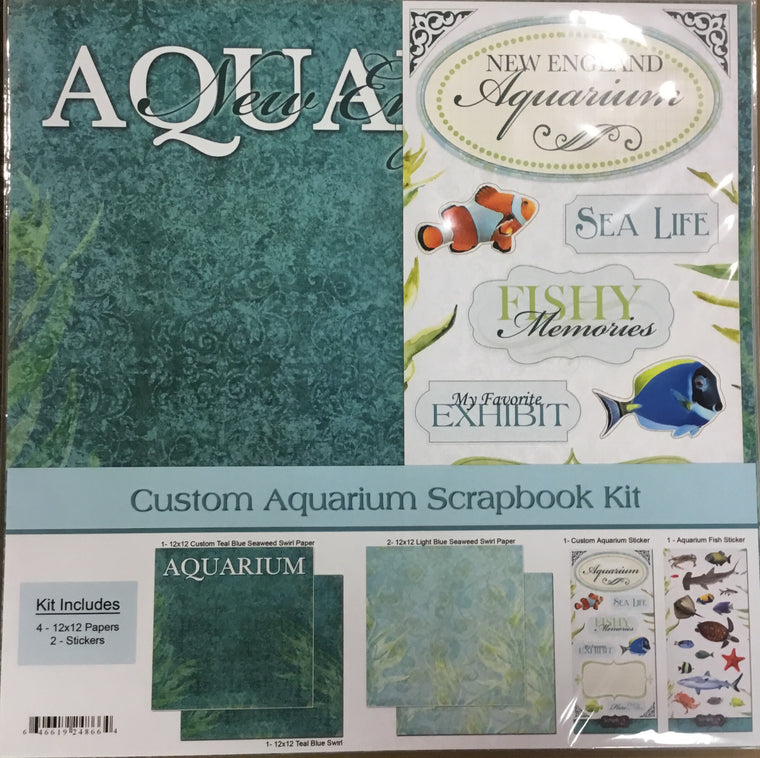 12x12 New England Aquarium kit w/ 4 sheets of paper, 1 custom sticker sheet, 1 fish sticker sheet