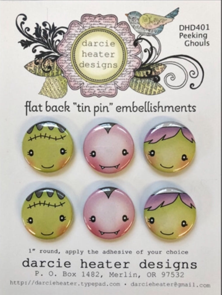 Darcie's Heart and Home flat back tin pin embellishment Peeking ghouls