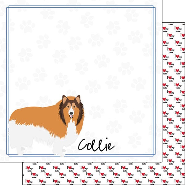 12x12 Collie paper single sheet