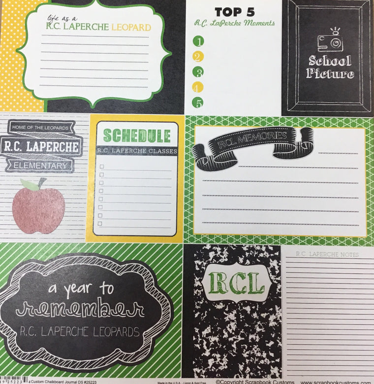 RC LaPerche elementary school chalkboard journal DS paper
