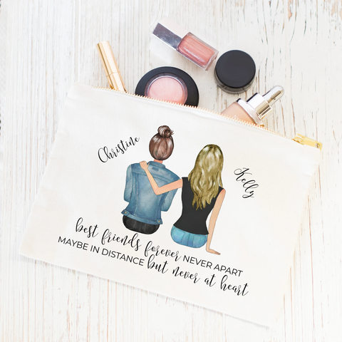 Best friends forever personalized makeup bag