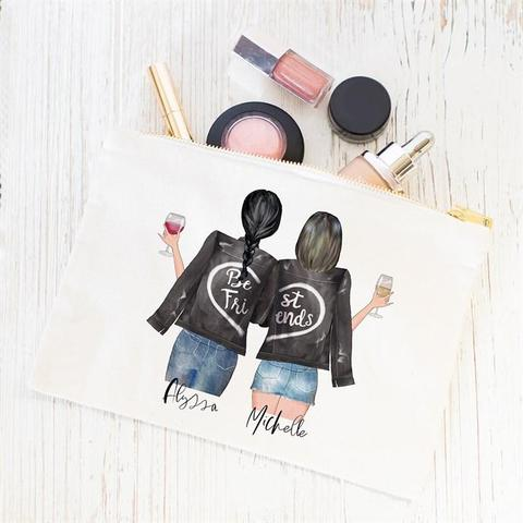 Best friends personalized makeup bag