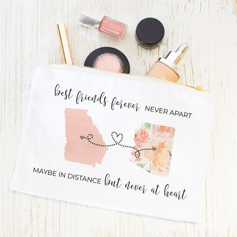 Best Friends Forever Never Apart Maybe In Distance But Never At Heart Cosmetic Bag