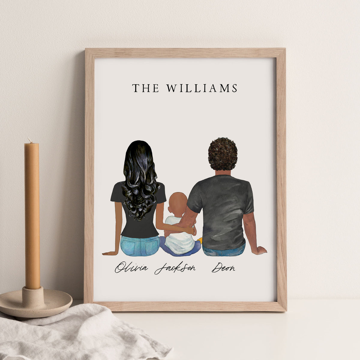 Portraits Wall Print (Couple & 1 Child)