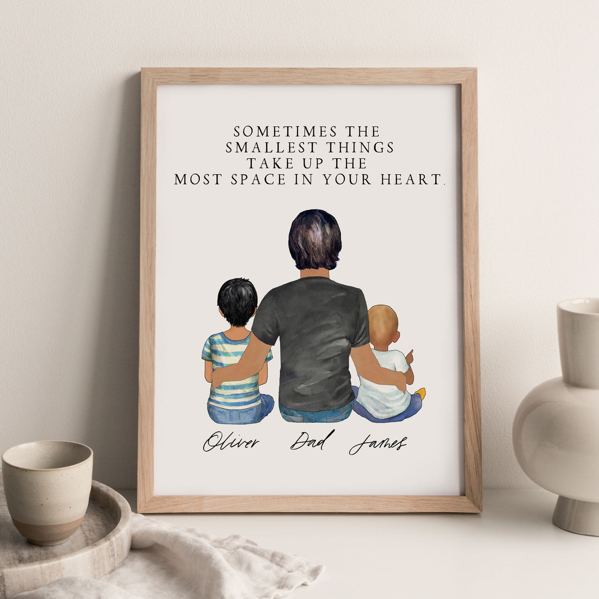 Portraits Wall Print (Male & 2 Children)