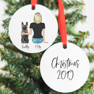 The Pet Portraits Candle & Ornament Gift Set (Girl & Pet Version)