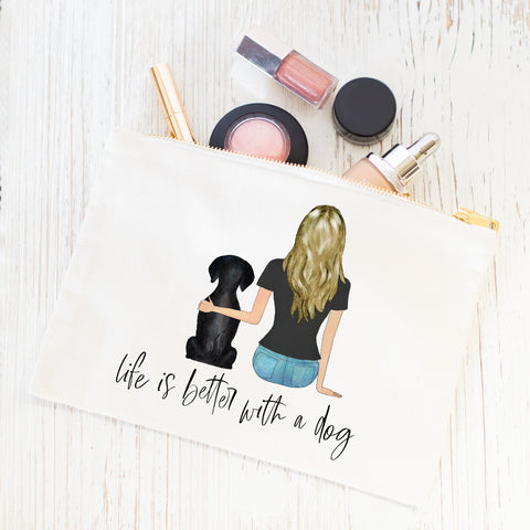 Pet Portraits Cosmetic Bag [GIRL & 1 PET]