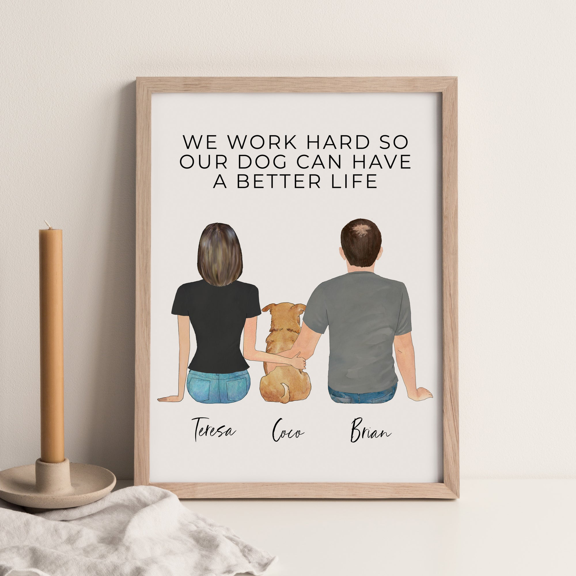 Pet Portraits Wall Print [COUPLE + PET]