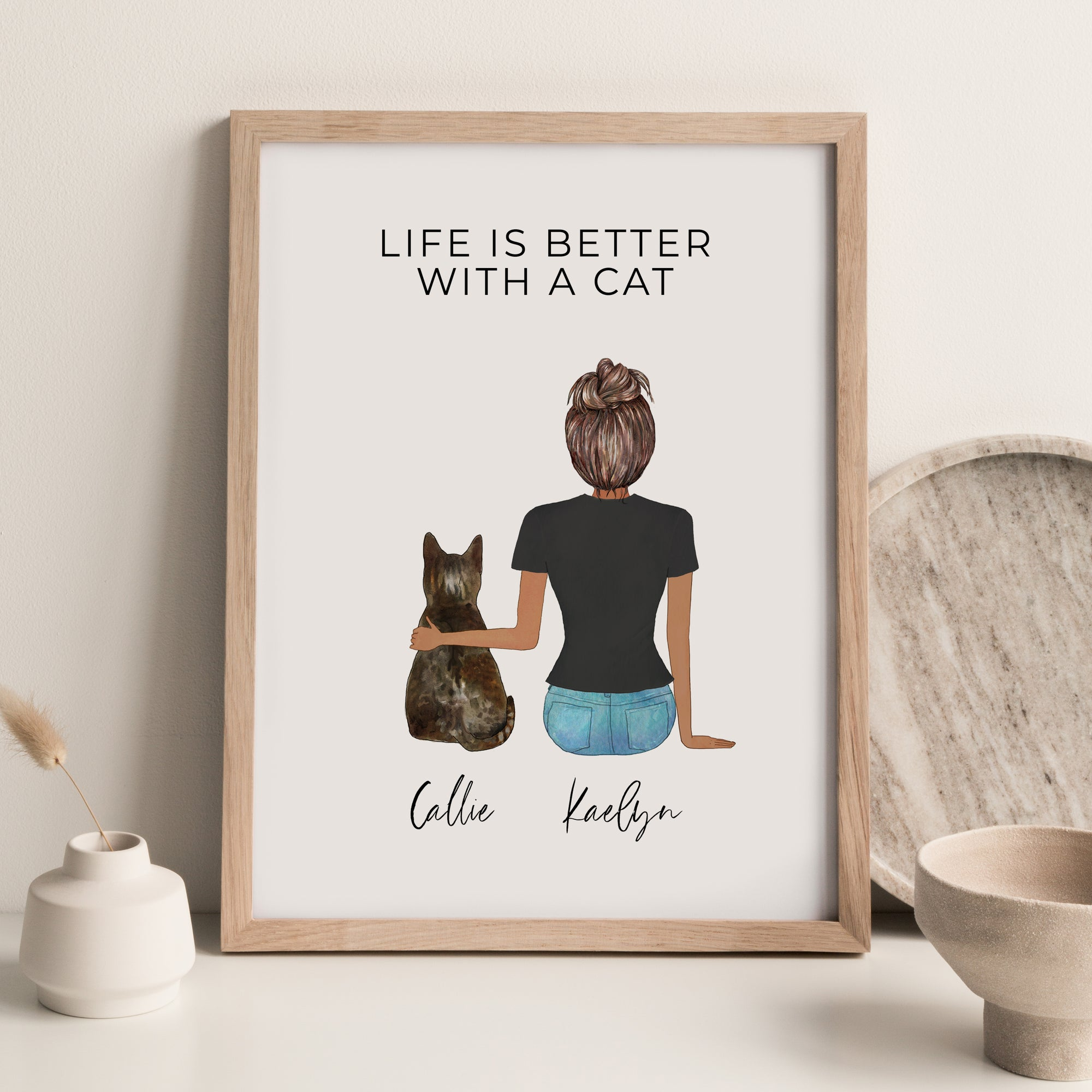 Pet Portraits Wall Print (Female & 1 Pet)