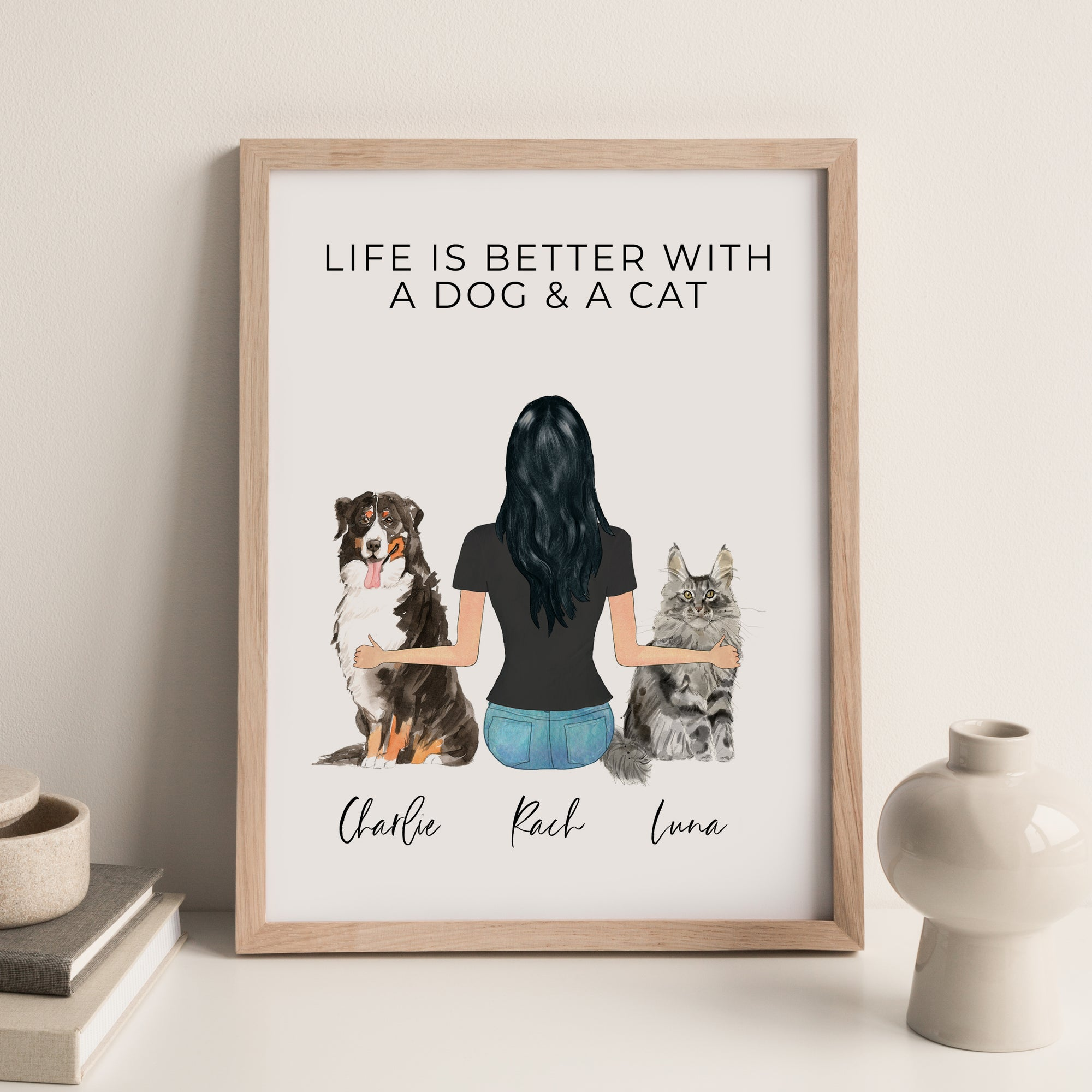 Pet Portraits Wall Print (Females & 2 Pets)