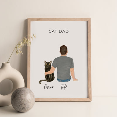 Pet Portraits Wall Print (Male & 1 Pet)