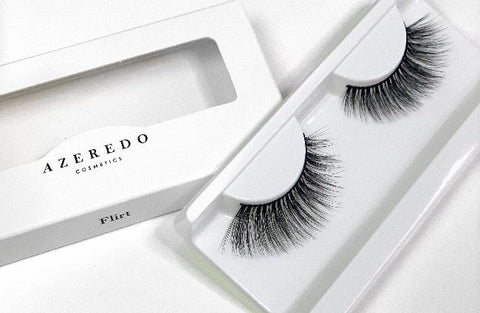 Azeredo Cosmetics.  Flirt lash has a natural winged effect. This design starts with a short pattern at the front and length at the end to give a wing effect.