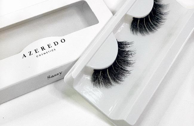 Azeredo Cosmetics.  Sassy lash has a more dramatic doll like effect. This design gives a wispy effect with drama.