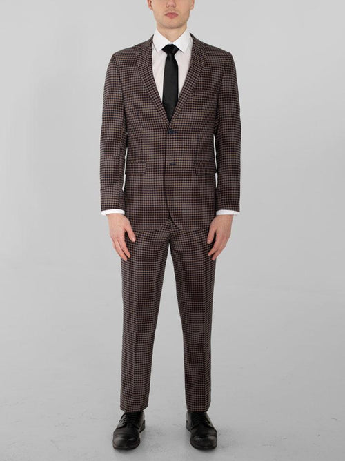 Navy Blue & Tan Large Houndstooth Two Button Suit