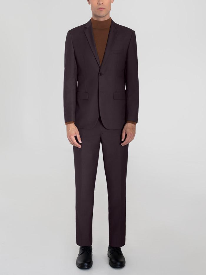 BURGUNDY TWO BUTTON SUIT