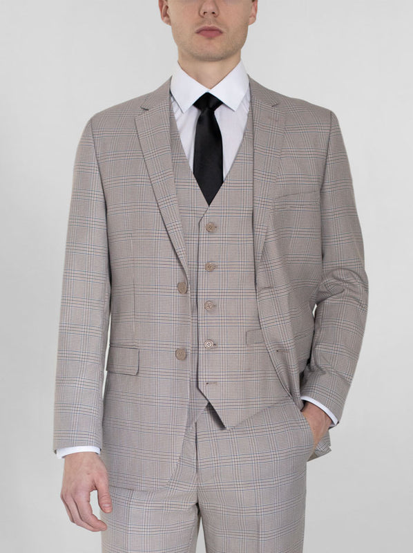Beige & Blue Plaid Three Piece Suit