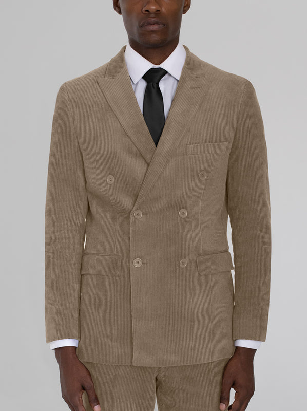 BEIGE CORDUROY DOUBLE BREASTED SUIT