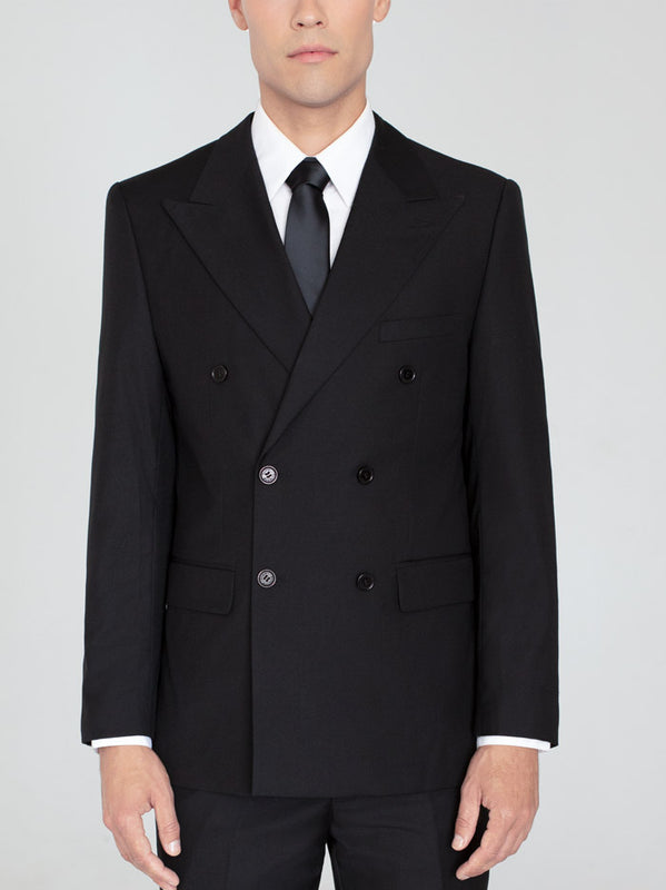 Black Double Breasted Wide Lapel Suit