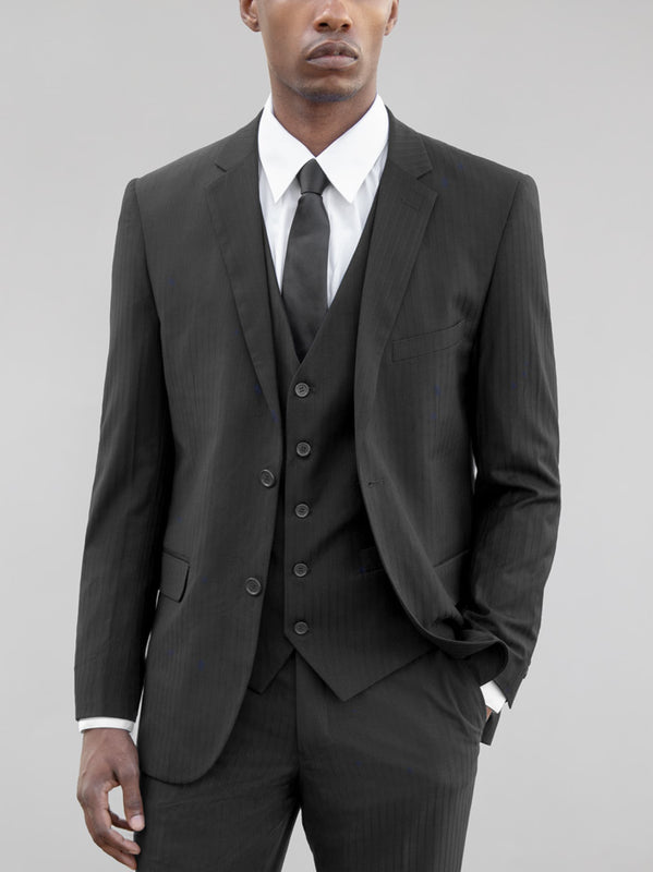 Black Tone-On-Tone Three Piece Suit