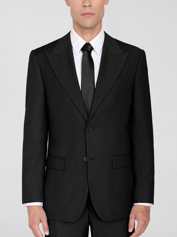 BLACK TWO BUTTON WIDE LAPEL TR SUIT