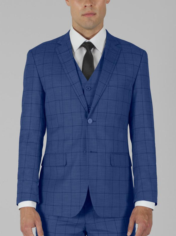BLUE PLAID THREE PIECE TR SUIT