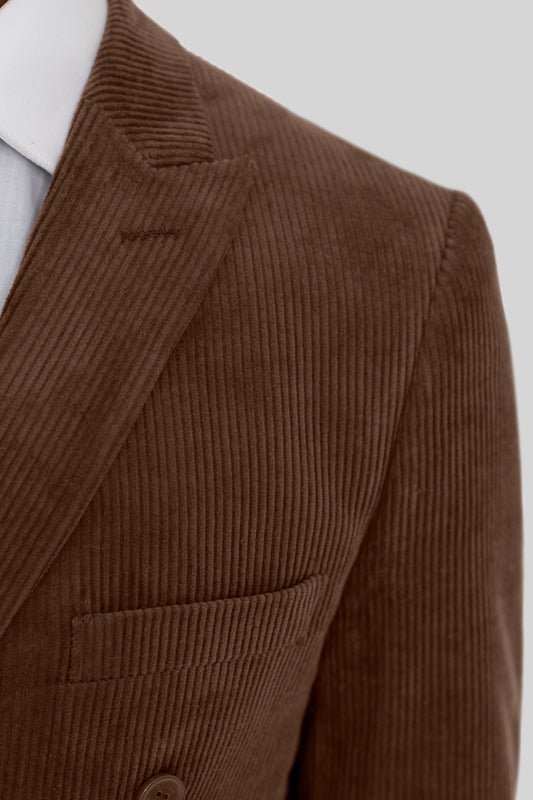 BROWN CORDUROY DOUBLE BREASTED SUIT