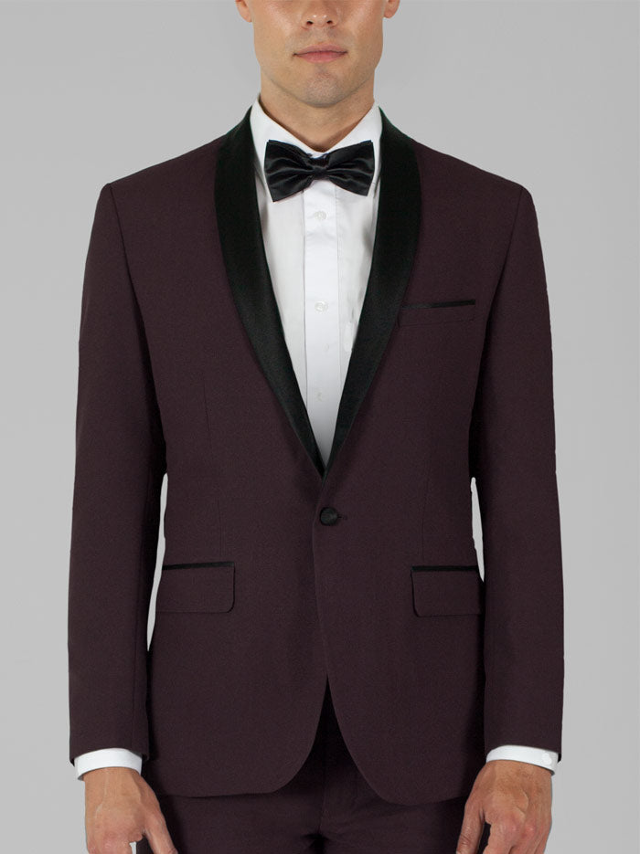 Burgundy Tuxedo with Shawl Lapel