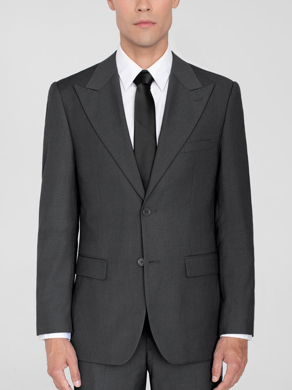 CHARCOAL GREY TWO BUTTON WIDE LAPEL TR SUIT