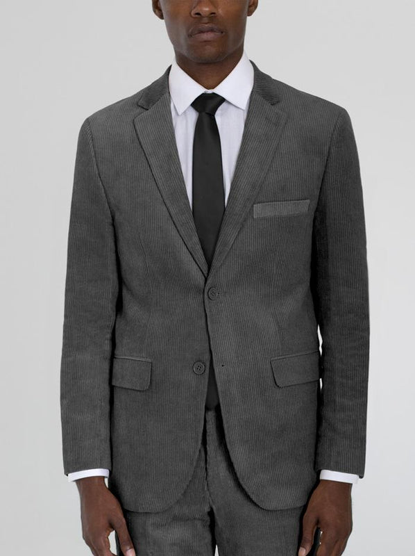 MEDIUM GREY CORDUROY TWO BUTTON SUIT