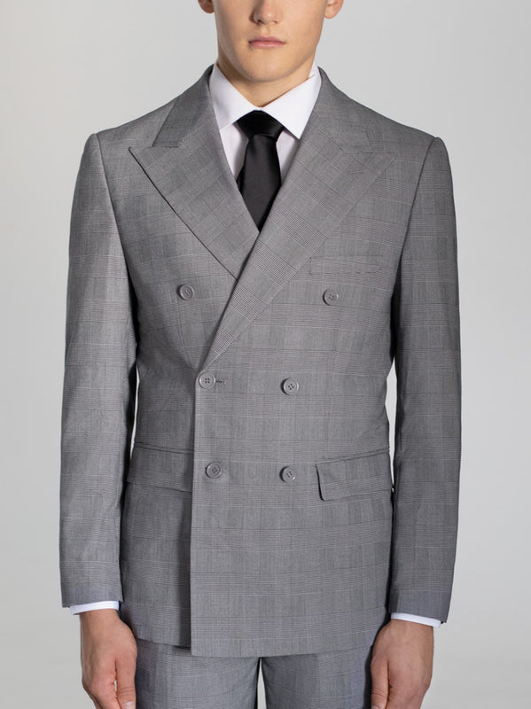 BLACK & WHITE GLEN PLAID DOUBLE BREASTED WIDE LAPEL TR SUIT