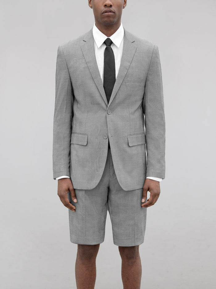 Black & White Glen Plaid Short Suit