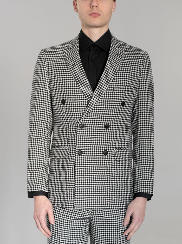 BLACK & WHITE LARGE HOUNDSTOOTH DOUBLE BREASTED SUIT