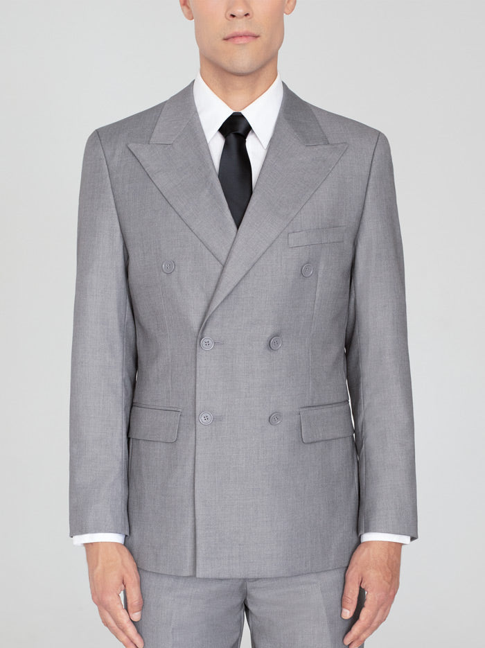 LIGHT GREY DOUBLE BREASTED WIDE LAPEL SUIT