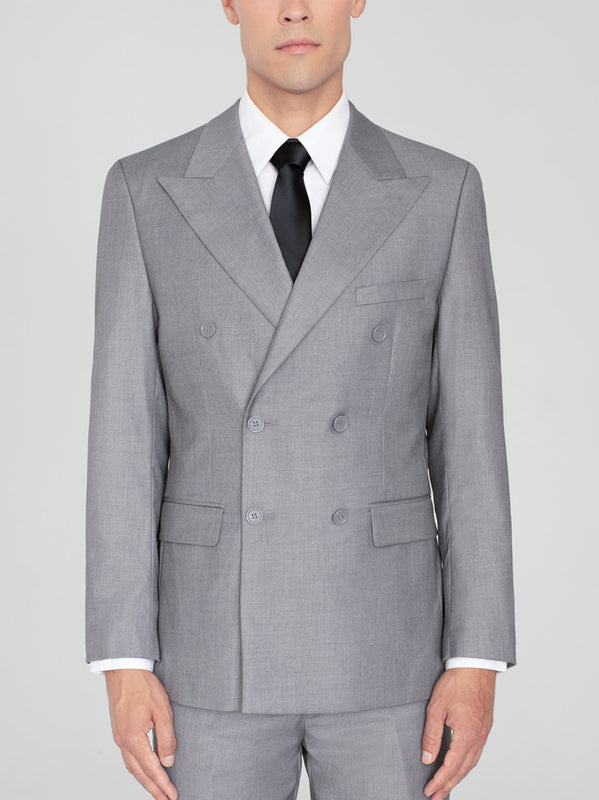 LIGHT GREY DOUBLE BREASTED WIDE LAPEL TR SUIT
