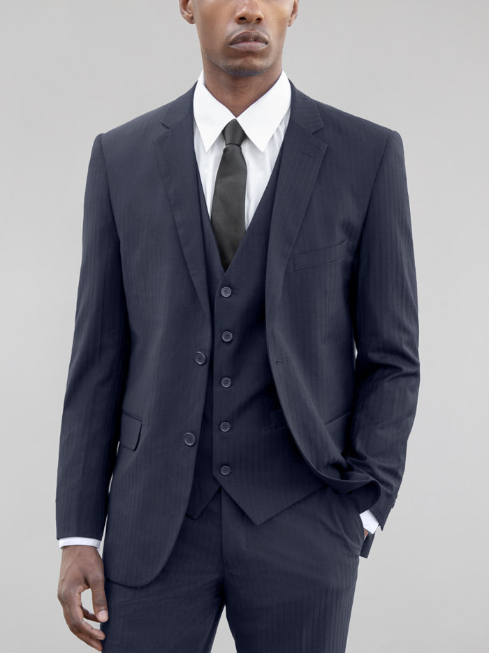 Navy Blue Tone-On-Tone Three Piece Suit