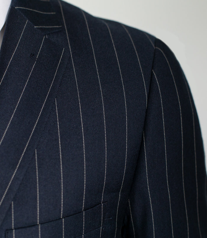 NAVY BLUE WIDE PINSTRIPE THREE PIECE SUIT