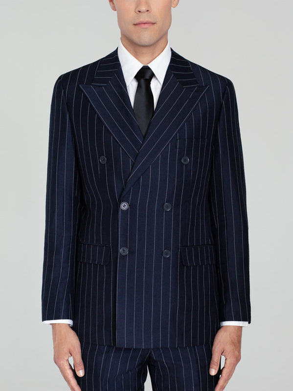 NAVY BLUE WIDE PINSTRIPE DOUBLE BREASTED WIDE LAPEL TR SUIT