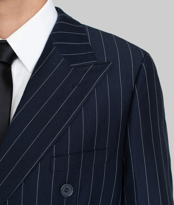 Navy Blue Wide Pinstripe Double Breasted Wide Lapel Suit